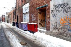 Dirty lane. Dirty lane with trash dustbin Royalty Free Stock Images