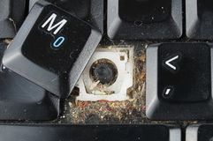 Dirty laptop keyboard Stock Photo