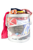 Dirty laundry. Basket full of dirty laundry isolated on white Stock Images