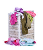 Dirty Laundry. A pile of dirty laundry. Children's clothes never end. Isolated on white Stock Image