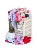 Dirty Laundry. A pile of dirty laundry. Children's clothes never end. Isolated on white Royalty Free Stock Images