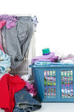 Dirty Laundry. A pile of dirty laundry. Children's clothes never end. Isolated on white Royalty Free Stock Photo