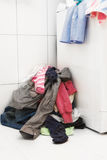 Dirty laundry in the bathroom Stock Images