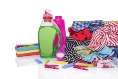 Dirty laundry and washing powder. royalty free stock images