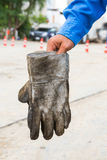 Dirty leather gloves Royalty Free Stock Image