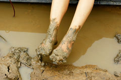 Dirty legs muddy Stock Images