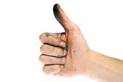Dirty like symbol. Dirty hand of a man with thumbs up Stock Photos