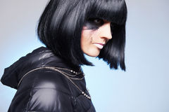 Dirty makeup girl with black hair Stock Image
