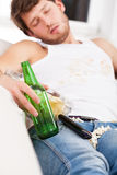Dirty man sleeping Stock Photography