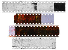 Dirty, messy and damaged strip of celluloid films Royalty Free Stock Photos
