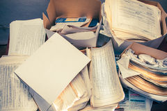 Dirty messy paper documents Stock Images