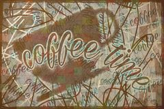 Coffee poster. Dirty messy vintage coffeecup poster Royalty Free Stock Photos