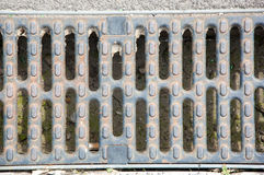 Dirty metal grate. On the pavement Royalty Free Stock Photos