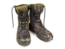 Dirty military boots Stock Image
