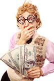 Dirty money. Funny nerd is shocked, holding dollars Royalty Free Stock Images