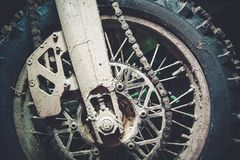 Dirty Motocross Bike Wheel Stock Image