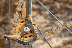 Dirty mountain bike derailleur Stock Photography