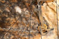 Dirty mountain bike derailleur Stock Image