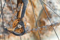 Dirty mountain bike derailleur Stock Images