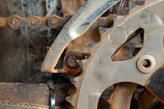 Dirty mountain bike derailleur and ringchain. Dirty mountain bike derailleur and chainring details Stock Images