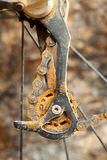 Dirty mountain bike rear derailleur Royalty Free Stock Images