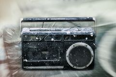 Dirty music. (dirty old school type radio player Royalty Free Stock Image
