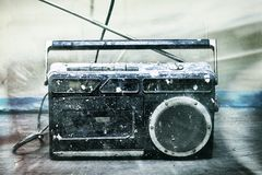 Dirty music. (dirty old school type radio player Stock Image