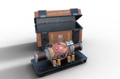 Dirty nuclear bomb - terrorist doomsday device. A dirty nuclear bomb, a terrorist doomsday device and it's holding crate, isolated on white background, 3d stock illustration