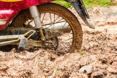 Dirty off-road tire on a mud terrain area in rural Royalty Free Stock Images