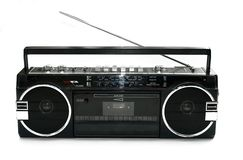 Dirty old 1980s style cassette player. Radio against a white background royalty free stock photos