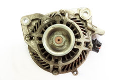 Dirty and Old Automotive alternator, Closeup Stock Photos