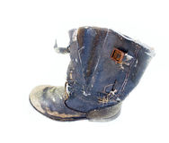 Dirty old boot isolated Royalty Free Stock Photography