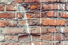 Dirty old brick wall background. Dirty abandoned old brick wall background Stock Images