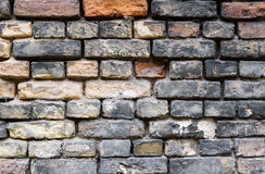Dirty old brick wall background. Dirty abandoned old brick wall background Stock Photography