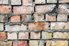 Dirty old brick wall background. Dirty abandoned old brick wall background Stock Photos