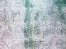 Dirty old concrete wall, stained dark green moss Royalty Free Stock Photo