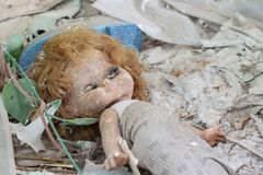 Dirty old doll Chernobyl stock photos