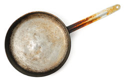 Dirty old frying pan on white Stock Photos