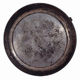 Dirty old frying pan on a white Stock Photography