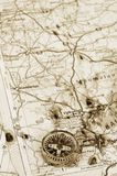 Dirty old map with compass Royalty Free Stock Photography