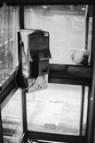 Dirty old public telephone in thailand,black and white color picture style,selective focus,neglected item in thailand Royalty Free Stock Photos
