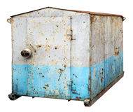 Dirty old rusty  blue metal  no name  truck  trailer without whe Stock Image