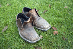 Dirty old shoes. In autumn grass Stock Images