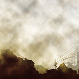 Dirty old town. Illustration of an urban scene with clouds and smoke