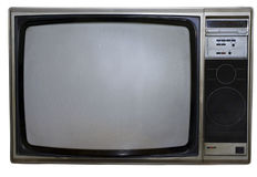 Dirty Old TV. 70s style grunge color TV set in silver-grey and black isolated on white stock photo