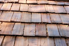 Dirty old vintage wooden shingle background Stock Image