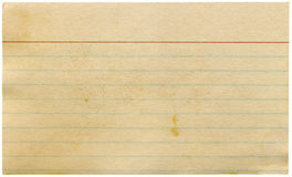 Dirty old yellowing blank index card isolated. stock images