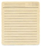 Dirty old yellowing blank index paper card isolated on white Royalty Free Stock Photos