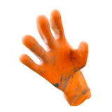 Dirty orange rubber gloves isolated on white background with clipping path Royalty Free Stock Photos