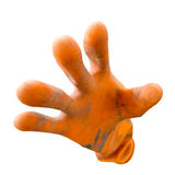 Dirty orange rubber gloves isolated on white background with clipping path Royalty Free Stock Images